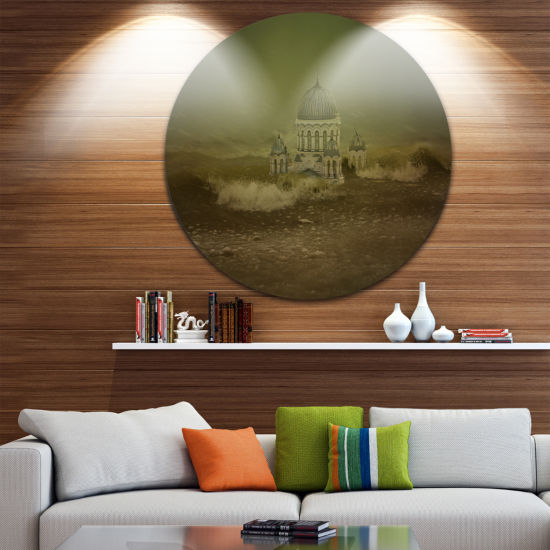 Design Art Covered Old City Landscape Circle MetalWall Art