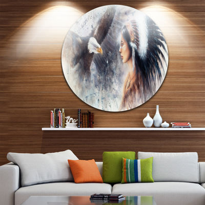 Design Art Enchanting Mystical Priestess Disc Abstract Woman Circle Metal Wall Art