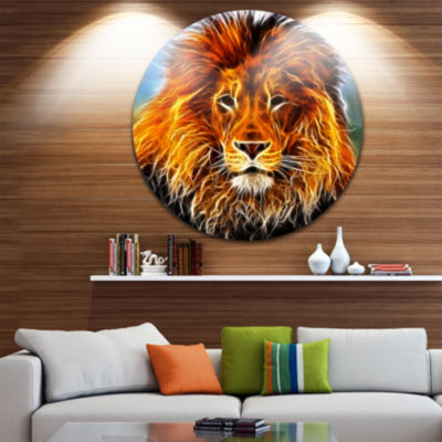 Design Art Drawing of the King of Jungle Disc Animal Circle Metal Wall Art