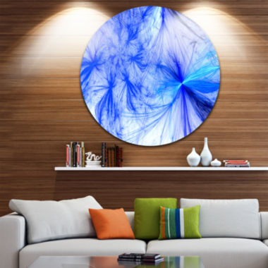 Design Art Christmas Fireworks Blue Large Contemporary Circle Metal Wall Arts