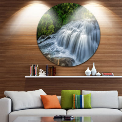 Design Art Flowing Pha Dokseaw Waterfall Disc Landscape Photography Circle Metal Wall Art