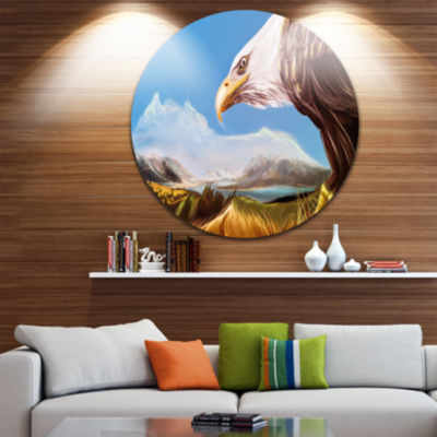 Design Art Eagle Flying in Sky Disc Animal CircleMetal Wall Art