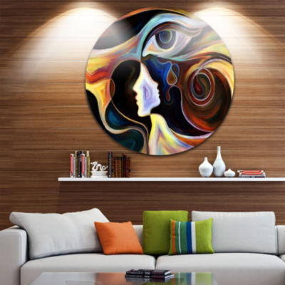 Design Art Colorful Intuition Abstract Metal Circle Wall Art