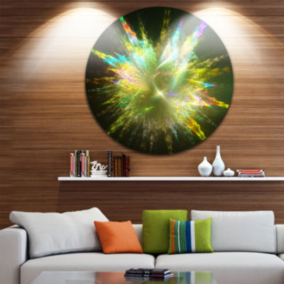 Design Art Fractal Explosion of Paint Drops Abstract Round Circle Metal Wall Decor
