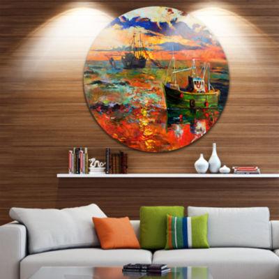 Design Art Colorful Fishing Ships Seascape CircleMetal Wall Art