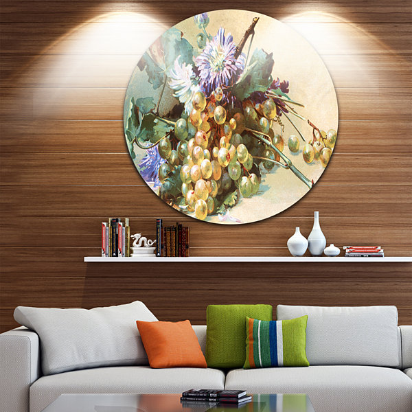 Design Art Digital Illustrated Flowers Disc FloralCircle Metal Wall Art