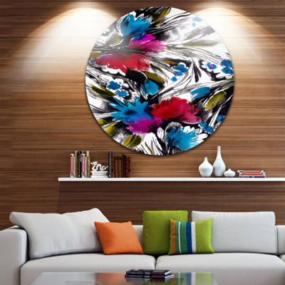Design Art Flowers with Fusion of Colors Disc Abstract Circle Metal Wall Art