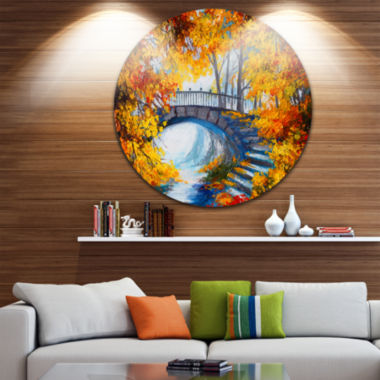 Design Art Fall Forest with a Bridge Landscape Circle Metal Wall Art