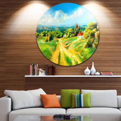 Design Art Color of Summer Landscape Circle MetalWall Art