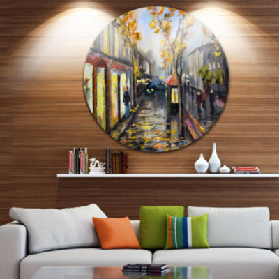 Design Art City in Yellow Shade Disc Cityscape Circle Metal Wall Art