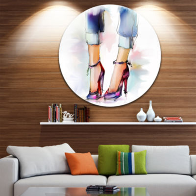 Design Art Female Legs and Shoes Disc ContemporaryCircle Metal Wall Art