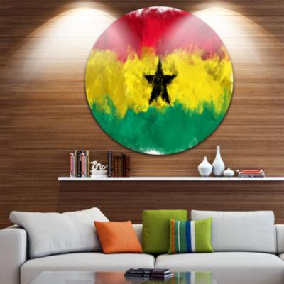 Design Art Ghana Flag Illustration Flag Painting Circle Circle Metal Wall Art