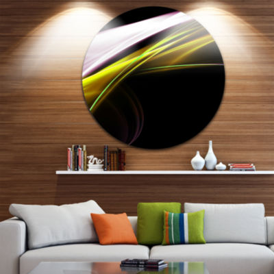Design Art Fractal Lines Golden White Abstract Circle Metal Wall Art