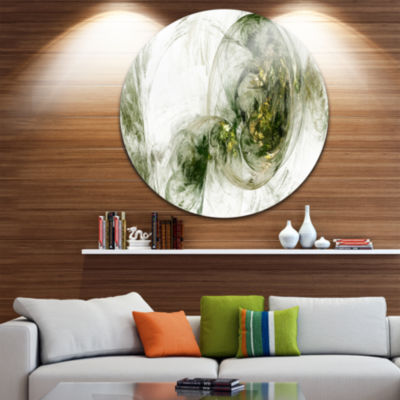 Design Art Colored Smoke Green Abstract Circle Metal Wall Art