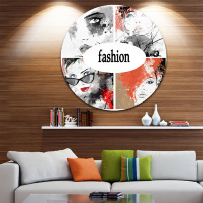 Design Art Collage of Girls Disc Abstract PortraitCircle Metal Wall Art