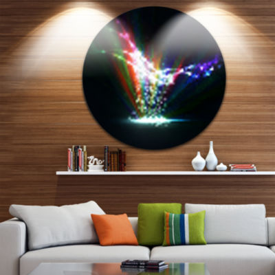 Design Art Colorful Dynamic Illustration Disc Contemporary Circle Metal Wall Art