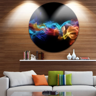Design Art Fire in Colors Disc Abstract Circle Metal Wall Art