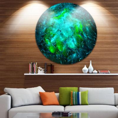 Design Art Fractal Smoke Texture Green Abstract Circle Metal Wall Art