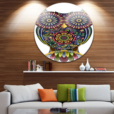 Design Art Funny Owl Disc Animal Circle Metal WallArt