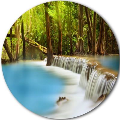 Design Art Clam Huai Mae Kamin Waterfall Disc Landscape Circle Metal Wall Art