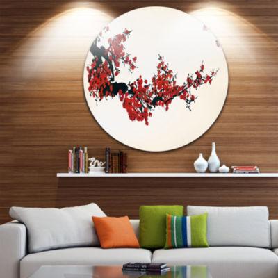 Design Art Floral Winter Sweet Disc Floral CircleMetal Wall Art