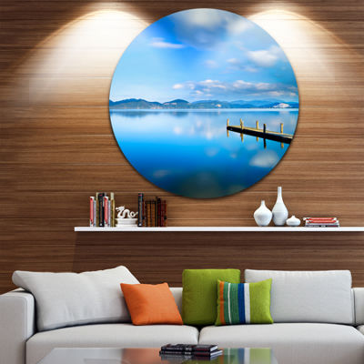 Design Art Cloudy Sky Over Blue Sea Seascape Circle Metal Wall Art