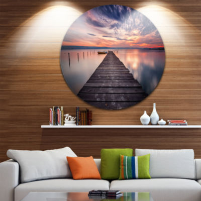 Design Art Colorful Sunset Over Lake Landscape Photography Circle Metal Wall Art