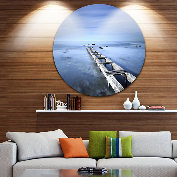 Design Art Dark Blue Sky and Large Pier Seascape Circle Metal Wall Art