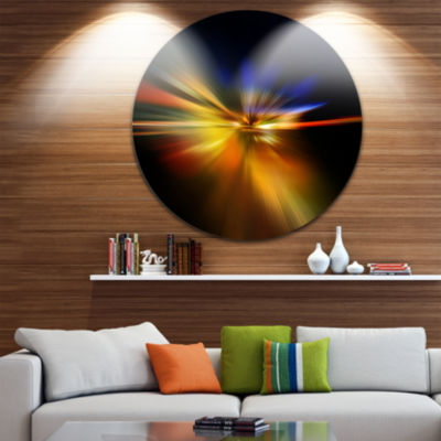 Design Art Explosion of Light in Black Abstract Circle Circle Metal Wall Art