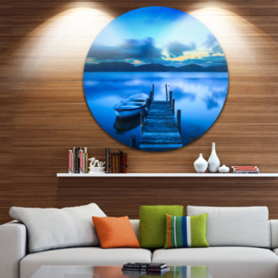 Design Art Cloudy Blue Sky with Pier Seascape Circle Metal Wall Art