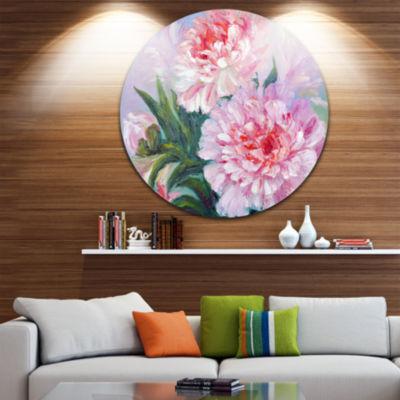 Design Art Full Blown Peonies Floral Circle MetalWall Art