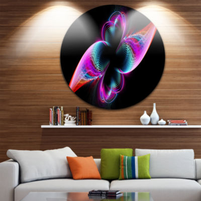 Design Art Colorful Flower Fractal Rainbow Abstract Art on Round Circle Metal Wall Decor Panel