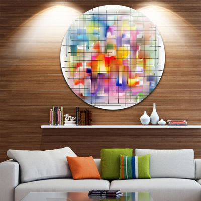 Design Art Colorful Stain Design with Grid Disc Large Contemporary Circle Metal Wall Art