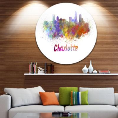 Design Art Charlotte Skyline Disc Cityscape MetalArtwork Print