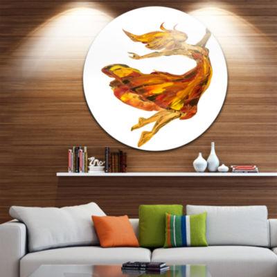 Design Art Fire Ballerina Portrait Circle Metal Wall Art