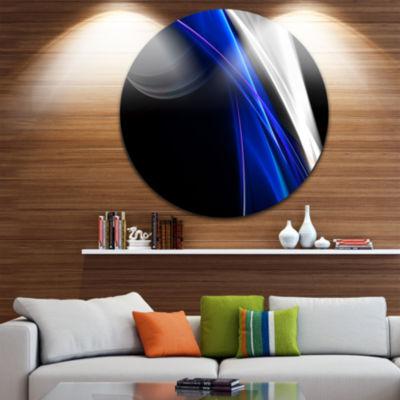 Design Art Glittering Blue Pattern Disc Abstract Circle Metal Wall Art