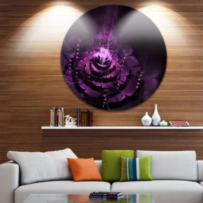 Design Art Dark Pink Fractal Flower Disc AbstractCircle Metal Wall Art