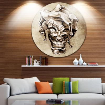 Design Art Fantasy Clown Joker Abstract Portrait Circle Metal Wall Art