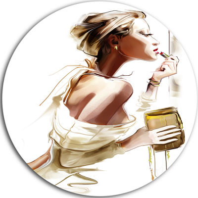 Design Art Fashion Woman Disc Abstract Portrait Circle Metal Wall Art