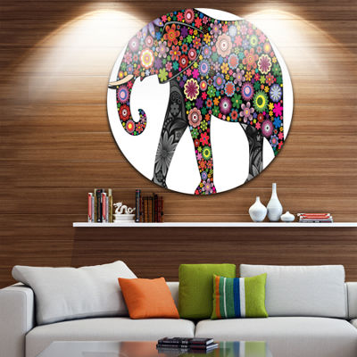 Design Art Cheerful Elephant Animal Circle Metal Wall Art