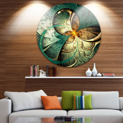 Design Art Dark Yellow Green Fractal Flower Abstract Round Circle Metal Wall Decor