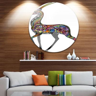 Design Art Colorful Antelope Animal Circle Metal Wall Art