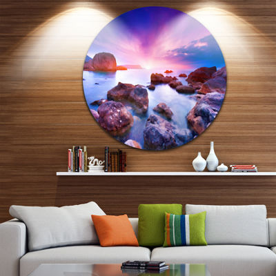 Design Art Colorful Summer Sea Seascape Circle Metal Wall Art
