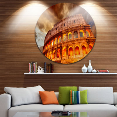 Design Art Colosseum in Rome Landscape Disc Monumental Circle Metal Wall Art