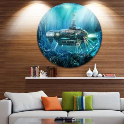 Design Art Fantastic Submarine Disc Abstract Circle Metal Wall Art