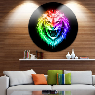 Design Art Colorful Fire Lion Disc Animal Circle Metal Wall Art