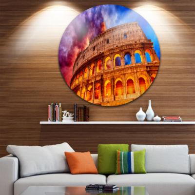 Design Art Colosseum Rome Italy Disc Monumental Photo Circle Metal Wall Art