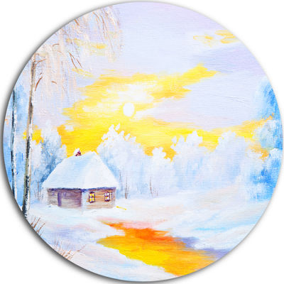 Design Art Frozen River in Winter Landscape MetalCircle Wall Art