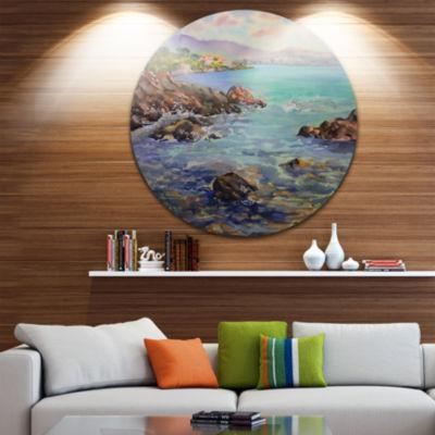 Design Art Cote d Azur France Disc Landscape Painting Circle Metal Wall Art
