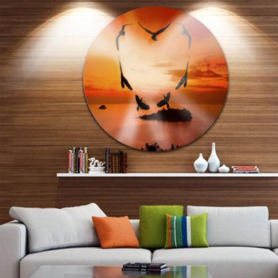 Design Art Crow Heart at Sunset Disc Large Contemporary Circle Metal Wall Arts